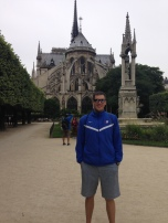 Abe Reising (LAS MA '09) outside Notre Dame Cathedral in Paris.
