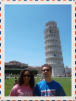 Alexis Gordon (BUS '14) and current DePaul student Spencer Gordon in Pisa, Italy.