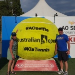 Beth and Tom Kersten (EDU '71, LAS MA '74) at the Australian Open Tennis Championships in Melbourne.