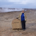 DePaul staff member Marilyn Ferdinand at the Great Geysir in southwestern Iceland.