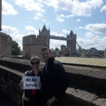 Libby Pascale (LAS MA '12) and her husband, Alex Popplewell, in front of London's Tower Bridge.