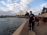 James Andrews (CMN MA '13) in front of the Opera House in Sydney, Australia.