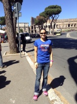 Jen Bruno (BUS '95) at the Roman Coliseum in Italy.