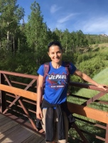 Jen Bruno (BUS '95) hiking in Snowmass, Colo.