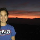 Jen Kouba (CMN '07, MA '11) on a sunrise hike up Mount Batur, an active volcano in Bali, Indonesia.