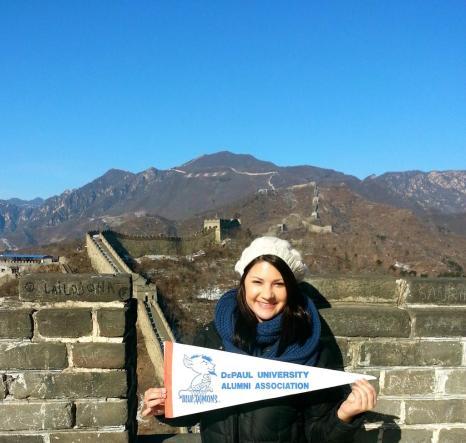 Jenn Schanz (CMN '12) at the Great Wall of China.