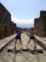 Jenna Stroh (CMN '14) and student Gracie Simonett photographed by Chad Morgan (CMN '14) during a visit to Pompeii, Italy.