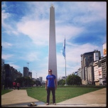 John Palmares (CSH '07) in front of the Obelisco de Buenos Aires in Argentina.