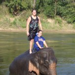 Lauren Cacioppo (BUS '10) at the elephant camp in Kanchanaburi, Thailand.