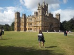 """Libby Pascale (LAS MA '12) outside Highclere Castle, site of the PBS series """"Downton Abbey,"""" in Newbury, West Berkshire, United Kingdom."""