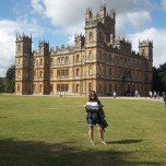 "Libby Pascale (LAS MA '12) outside Highclere Castle, site of the PBS series ""Downton Abbey,"" in Newbury, West Berkshire, United Kingdom."