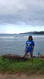 Miriam Manahan (MBA '08, BUS MS '09, MS '10) on the Napali Coast in Kauai, Hawaii.