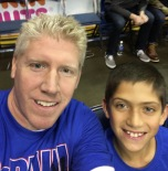 Patrick Dabbs (MBA '08) and his son Jack at Allstate Arena in Chicago.