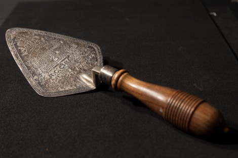 This trowel was used in laying the cornerstone of St. Vincent de Paul Church on May 19, 1895. Part of the DeAndreis-Rosati Memorial Archives. Picked by Jamie Nelson.