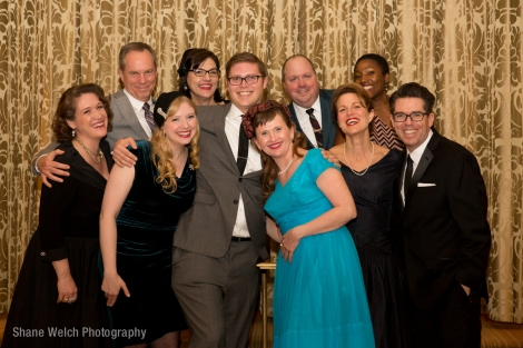 "Current TimeLine Company Members, March 2015 at TimeLine's ""Step Into Time: American Bandstand 1957"" gala fundraiser (from left): Lara Goetsch, David Parkes, Maren Robinson, Janet Ulrich Brooks, Ben Thiem (THE '04), Mechelle Moe, Nick Bowling (THE '96), Juliet Hart (THE '95), Mildred Marie Langford, PJ Powers (THE '95). Photo by Shane Welch."