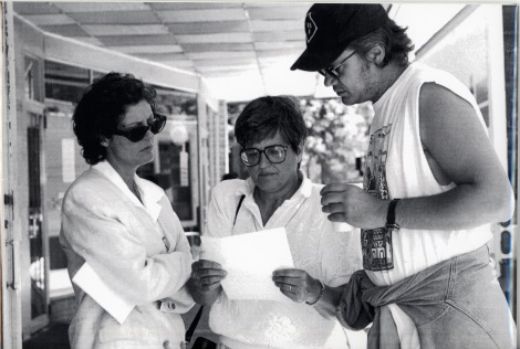 "Sister Helen Prejean (DHL '00) with Susan Sarandon and Tim Robbins on the set of the Oscar Award-winning film, ""Dead Man Walking."""