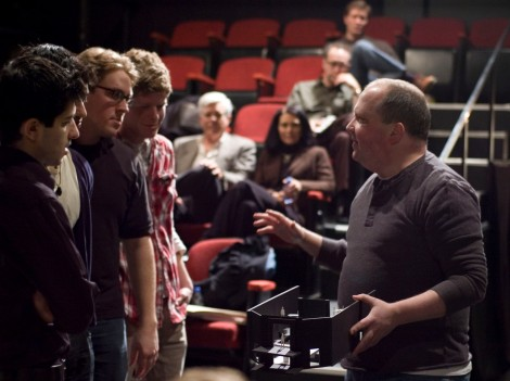 "Director Nick Bowling (right) with cast members and others at first rehearsal for TimeLine's Chicago premiere of ""The History Boys"" (April 2009), which became the biggest hit in TimeLine history, selling out performances for six months and winning the 2009 Equity Jeff Award for Outstanding Production."