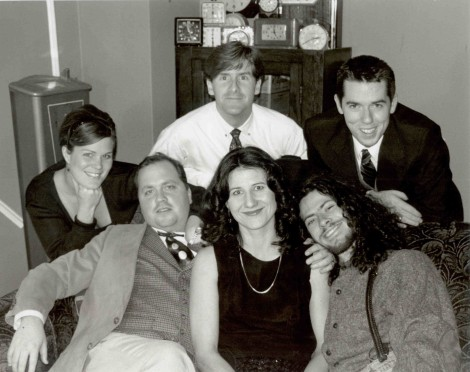 The founding Company Members of TimeLine Theatre Company, circa 1997. All are graduates of The Theatre School at DePaul. From left (back row): Juliet Hart (THE '95), Kevin Hagan (THE '96), PJ Powers (THE '95). From left (seated): Nick Bowling (THE '96), Pat (Tiedemann) Hofmann (THE '96), Brock Goldberg (THE '97). Photo by Lara Goetsch.