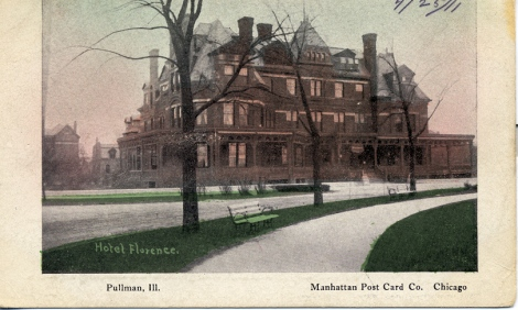 A postcard of the opulent Hotel Florence dated April 1911. Photo credit: Collection of the Pullman State Historic Site