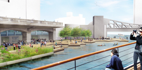 "A rendering of ""The Jetty,"" spanning from Wells Street to Franklin Street. This section of the Riverwalk will feature floating gardens, a place for fishing and educational information on the ecology of the river. Image credit: CDOT"
