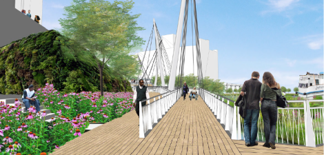"A rendering of ""The Boardwalk,"" spanning from Franklin Street to Lake Street, is the last leg of the Riverwalk. The Boardwalk will house a bridge linking Upper Wacker Drive to the Riverwalk and will be surrounded by floating gardens. Image credit: CDOT"