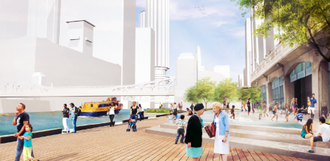 A rendering of the Swimming Hole section of the Riverwalk. Image credit: Chicago Department of Transportation (CDOT)