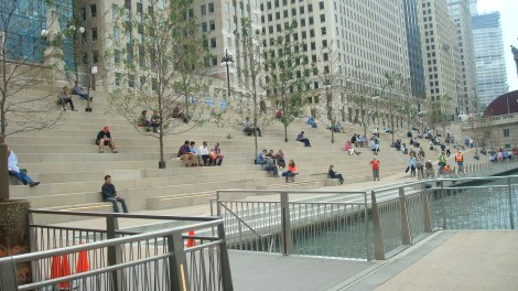 "The space between Clark and LaSalle Streets, dubbed ""River Theatre,"" is often filled with people enjoying their lunch breaks."