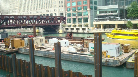 "Construction on the next leg of the Riverwalk is underway. The ""Swimming Hole"" section between LaSalle Street and Wells Street will have a fountain for children to play in."
