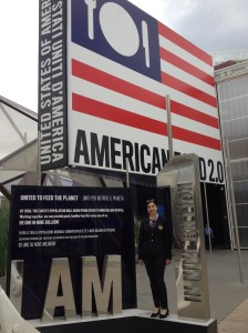 Raquel in front of the USA Pavilion