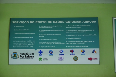 "This plaque in the reception area of a health post lists the many services available. The slogan in the bottom right corner next to the heart icon translates as ""health has no price."" This sentiment was expressed repeatedly and vigorously by almost all of the health care workers I encountered during my time in Fortaleza, reflecting the idealism that permeates Brazil's health care system, if not its practical reality."