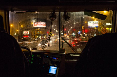 The Night Ministry's Health Outreach bus makes its way towards Humboldt Park in Chicago during an evening stops where volunteers offer healthcare, food and clothing to the needy and homeless. (DePaul University/Jamie Moncrief)
