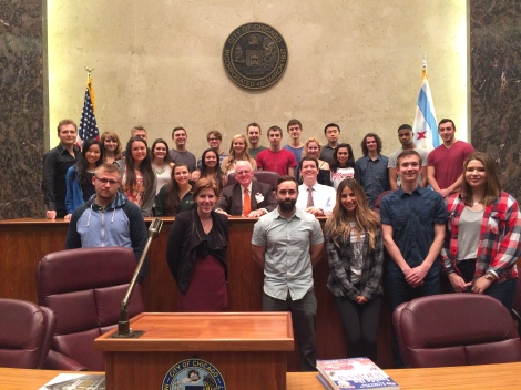 DePaul students meet with Alderman Edward Burke.