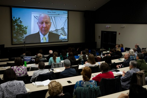 "Robert Putnam, the Malkin professor of Public Policy at Harvard University and author of ""Our Kids: The American Dream in Crisis,"" talks via video conference with DePaul faculty, staff and students.(DePaul University/Jeff Carrion)"