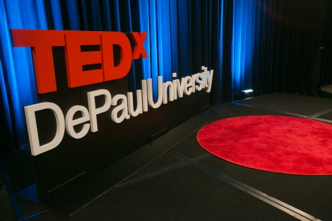 """Backstage scenes at the TEDxDePaulUniversity event, held Friday April 29, 2016, at the Daley Building in downtown Chicago. Speakers from across the university offered their thoughts on the theme, """"What must be done?, hoping to inspire others with what is known as """"the Vincentian question"""". (Photo by Diane M. Smutny)"""