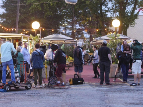The crew gets ready for a scene on location in Chicago. Photo credit: James Psathas