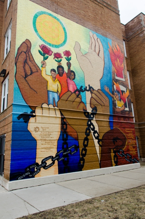 This mural illustrates the Hispanic community's experiences with housing discrimination in Logan Square and surrounding communities. Photo credit: Megan E. Doherty