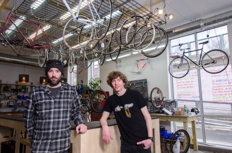 BlackCAT1 bike shop is just off The 606 California Avenue access ramp. Co-owners Russell Boehringer and Josh Korby offer bike repair classes and other community activities. They hope to serve as a unifier for the whole community. Photo credit: Megan E. Doherty