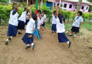 Chavez's students enjoy their new playground.