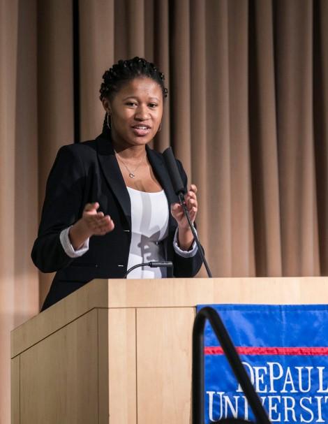 Kendall Sprinkle, president of DePaul's Black Student Union.