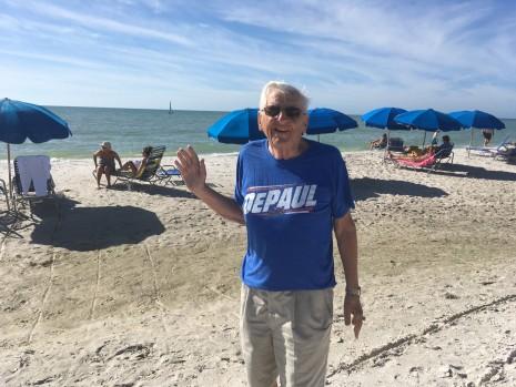 William Windisch (BUS '54) on the beach in Naples, Fla.