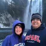 Katie Fitzpatrick (BUS '05, MBA '09) and Robert Fincannon (CDM '04, MS '05) at Skogafoss, one of the largest waterfalls in Iceland.