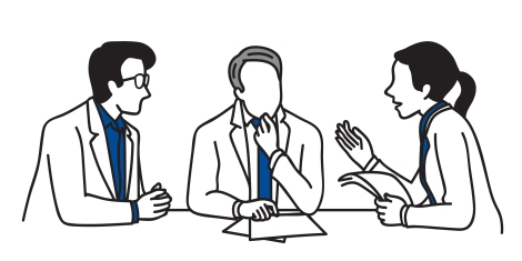 Line drawing of three people having a discussion.