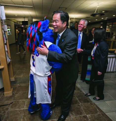 1260403cee1 Dr. Gabriel Esteban, president-elect of DePaul University, is greeted by  DIBS at the Student Center on the Lincoln Park Campus.