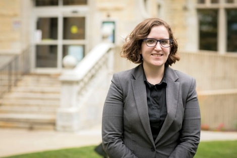 Photo by Tom Evans of Sara Dankowski (JD '17), who was sworn into the Illinois Bar Association on a Thursday. She was a lawyer in court the following Monday.