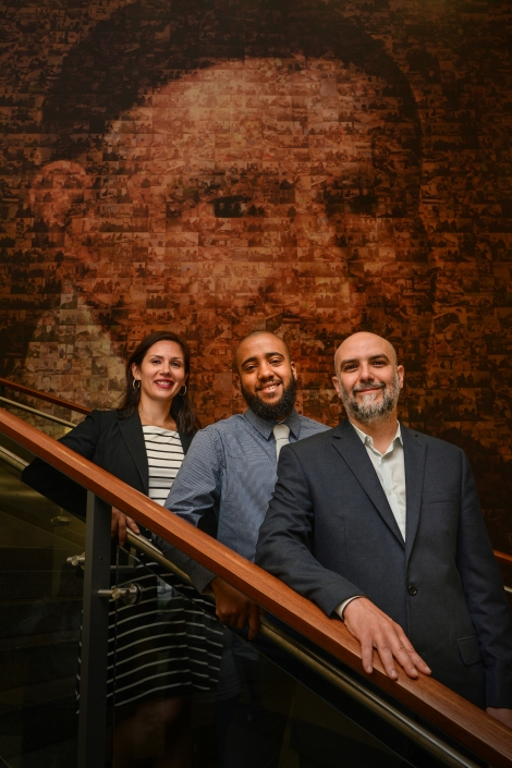 Photo: Cristina Tus (LAS '12), Terry Vaughan III (LAS '12) and Luciano Berardi (CSH MA '10, PhD '12) lead DePaul's McNair and Mitchem programs.