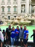 Austin Henggeler (BUS '10), Danielle Pitaro (CMN '17), Nicole Pitaro (CMN '13), Chris Pitaro (BUS '11) and Jake Douglas (BUS '15) at the Trevi Fountain in Rome, Italy. Photo taken by Kevin Phillips (CDM '11).