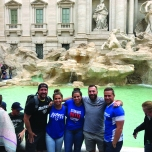 Austin Henggeler (BUS '10), Danielle Pitaro (CMN '17), Nicole Pitaro (CMN '13), Chris Pitaro (BUS '11) and Jake Douglas (BUS '15) at the Trevi Fountain in Rome, Italy. Photo taken by Kevin Phillips (CDM '11).