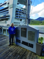 Christine Lesniak Kern (BUS '87) in Juneau, one of the ports of call on the 14-day Alaskan cruise and land tour she took with her husband, Ron, to celebrate their 25th wedding anniversary.