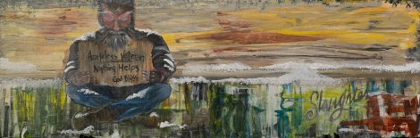 """Painting of man holding sign reading """"Homeless Veteran Anything Helps God Bless"""