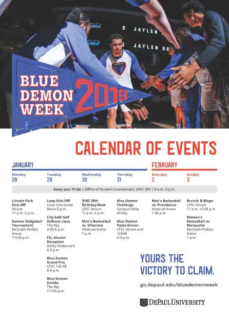 Blue Demon Week 2019 Calendar of Events